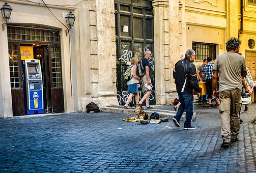 Rome, Trastevere, City, Urban, Italian, Dog, Beggar