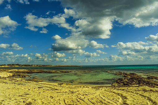 Beach, Empty, Sea, Landscape, Winter, Sky, Clouds