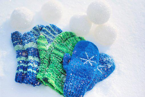 Mittens, Kid's Mittens, Snowballs, Snow Balls, Winter