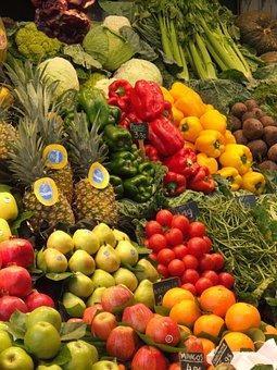 Fruit, Vegetables, Market, Foods, Barcelona, Boqueria