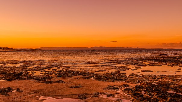 Sunset, Beach, Sea, Landscape, Orange, Dusk, Peaceful
