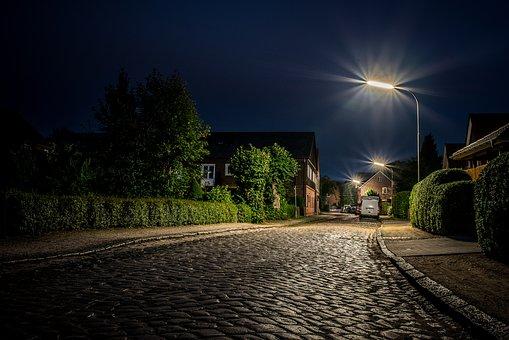 Barmstedt, City, Road, Cobblestones, Blue Hour, Lamp