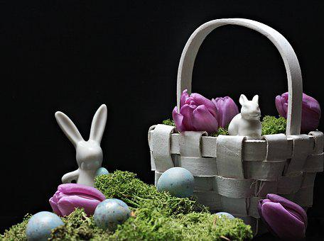 Hare, Easter Bunny, Easter, Spring, Figure, Tulips