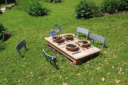 Gedeckter Table, In The Free, Summer, Garden, Plate