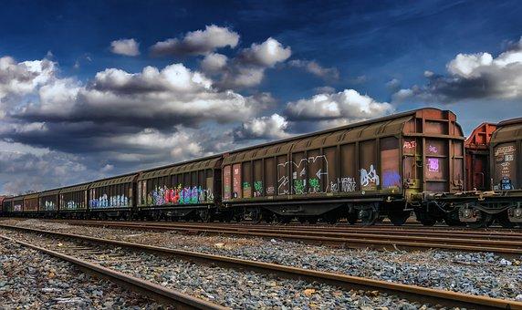 Wagon, Goods, Railway Station, Freight Cars