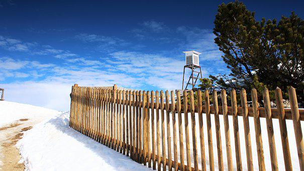 Fence, Perch, Snow, Mountain, Rise, Ice, Winter, White