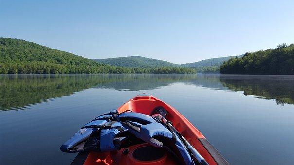 Kayak, Nature, Lake, Mongaup, Catskills, Kayaking