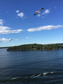Islands, Sweden, Summer, Ocean, Horizon, Nordic