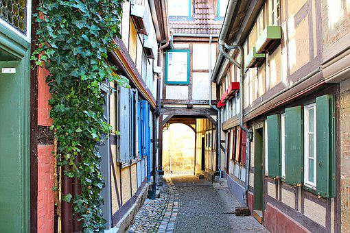 Quedlinburg, Alley, Truss, Facade, Old, Colorful