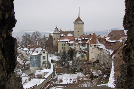 Murten, City Snow, Snow, Winter, Roofs, Castle