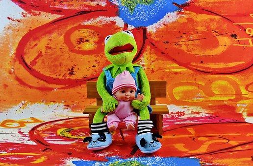 Kermit, Frog, Baby, Doll, Stuffed Animal, Soft Toy