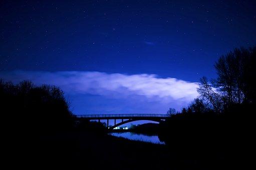 Starry Sky, Night Photograph, Night Sky, Cloud Front