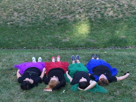 Lying On The Grass, Girls, Nature, Summer