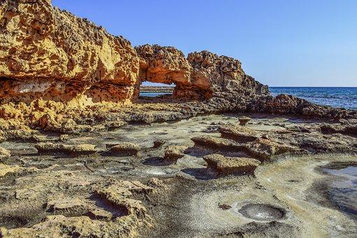 Cyprus, Ayia Napa, Rock, Formation, Window, Coast, Sea
