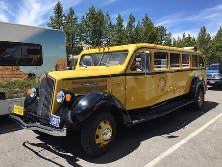 Yellowstone National Park, Tour Bus, Yellowstone