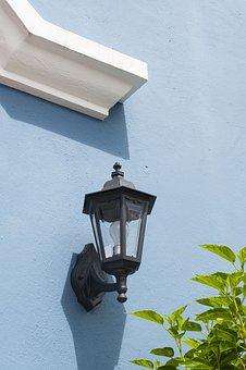Lamp, Sunlight, Blue, Light, Wall, House, Morning, Day