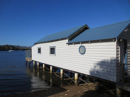 Boathouse, Waterfront, Water, Building, Bay, Shore