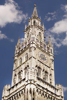 Munich, Church, Clock Tower, Landmark, City, Bavaria