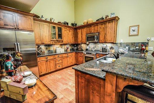 Kitchen, Counter, Interior, Granite, Stainless