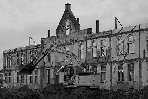 Excavators, Dig, Facade, Architecture, Building