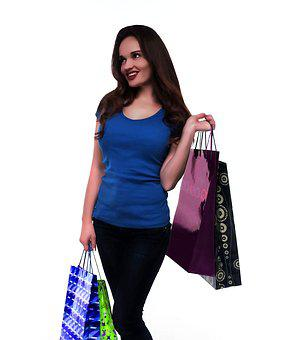 Shopping, Purchase, Girl, Gifts, Joy, Brunette, Woman