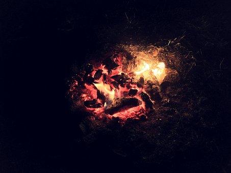 Fire, Embers, Fireplace, Night, Dark, Heat, Warm, Hot