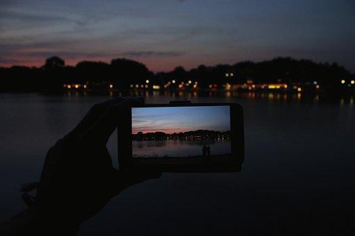 Lake, Aasee, Münster, Evening Sun, Sunset, Sky