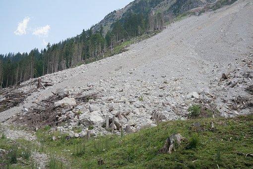 Scree, Stones, Rock Fall, Landslide, Vilsalpsee