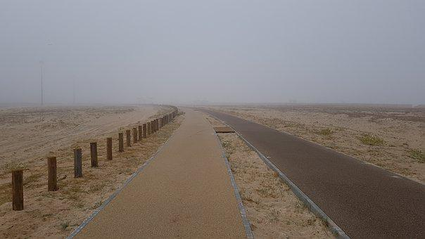 Path, Beach, Sand, Fog, Walk, Loneliness, Portugal