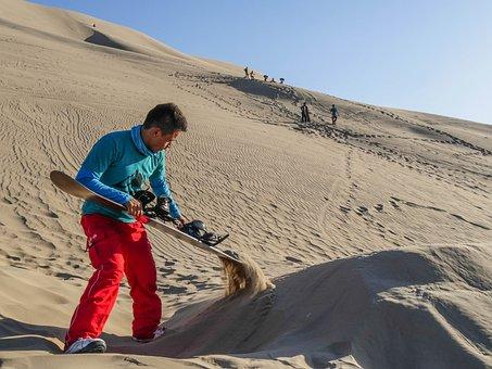 Sandboard, Ramp, Sandboarder, Dune, Desert, Sand