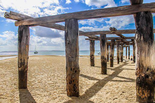 Beach, Dock, Fraser Island, Water, Summer, Vacation