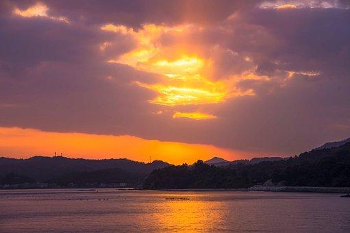 Saganoseki, Sunset, Romantic, Natural, Landscape, Cloud