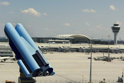 Airport, Munich, Telescope, Observation Deck
