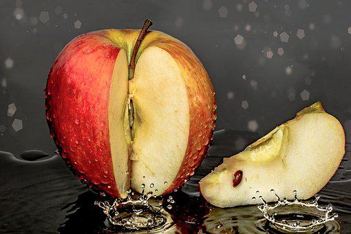 Apple, Piece Of Apple, Cut, Drip, Bio, Vitamins