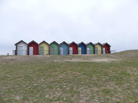 Beach, Beach Huts, Seaside, Northumberland, Blyth