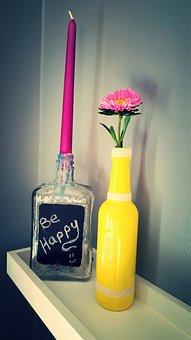 Desperados, Bottle, Flower, Candle, Yellow