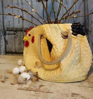 Lady's Handbag, Bag, Easter, Eggs, Decoration, Deco