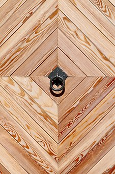 Wooden Door, Call Waiting Ring, Geometric Shape
