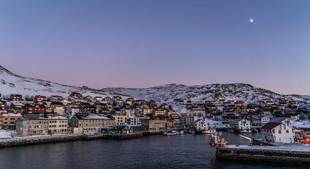 Norway, Sunset, Honningsvag Coast, Sea, Norwegian