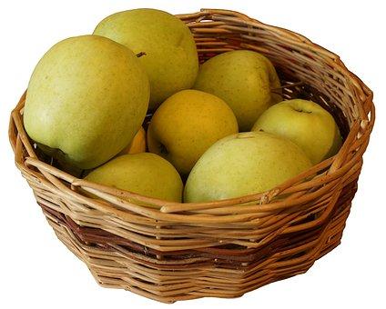 Apples Cart, Apples, Košik, In Isolation, White