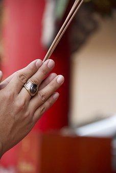 Thailand, Buddhism, Praying, Incense, Temple, Religion