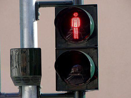 Traffic Lights, Footbridge, Red, Males, Traffic Signal