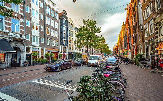 Amsterdam, Netherlands, Bicycle, Cars, Street, Sky