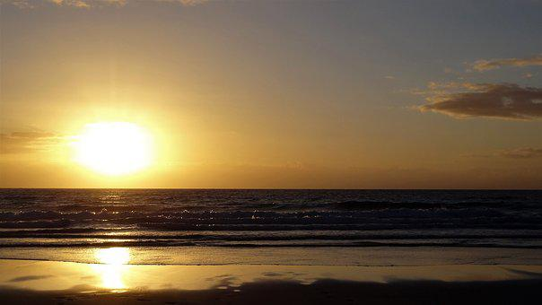 Sunrise, Sand, Sun, Water, Fuerteventura, Beach, Sea