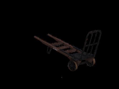 Cart, Sack Truck, Transport, Wooden Barrow, Digital Art