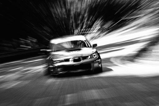Car, Race, Motion, Zoom, Blur, Uphill, Black White