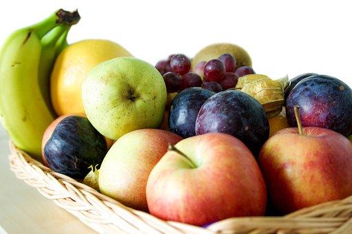 Fruit, Basket, Banana, Apple, Pear, Plum, Grapes