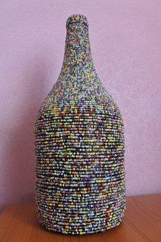Bottle, Beads, Handmade, Decoration, Decor, Pink