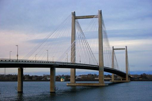 Bridge, Cable, River, Architecture, Landmark