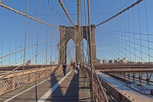New York, Bridge, Brooklyn, Construction, Air, Blue